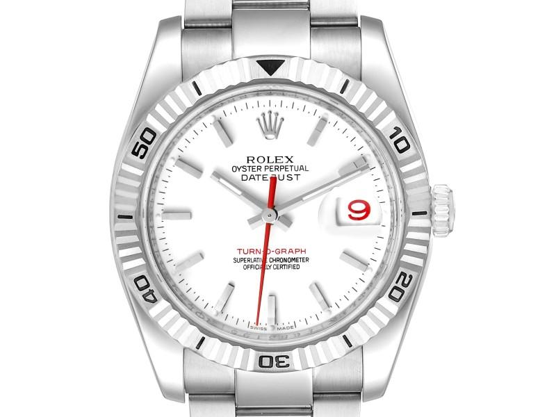 Rolex Turnograph Steel White Gold Bezel White Dial Mens Watch 116264