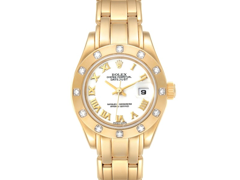 Rolex Pearlmaster Yellow Gold White Dial Diamond Ladies Watch 69318