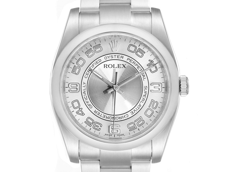 Rolex Oyster Perpetual Silver Concentric Dial Steel Mens Watch 116000
