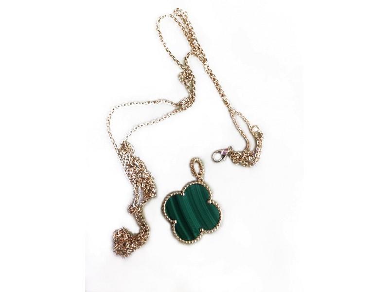 Van Cleef & Arpels Magic Alhambra 18K Yellow Gold & Malachite Necklace
