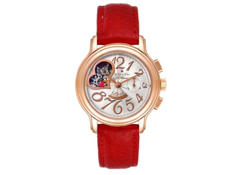 Zenith El Primero Open Heart Rose Gold Chronograph Watch 18.1230.4021