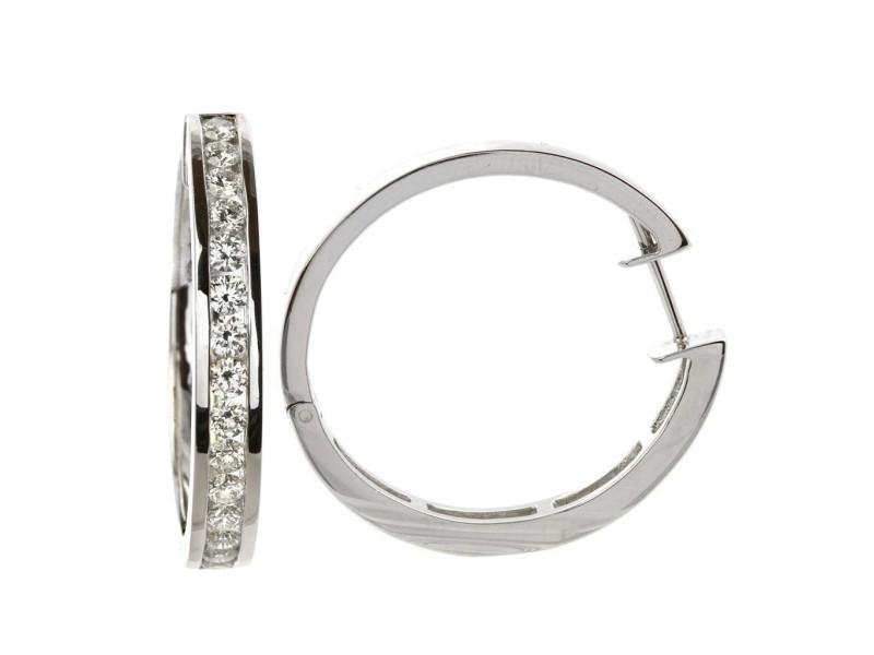 14k White Gold Diamond Channel Set Hoop Earrings