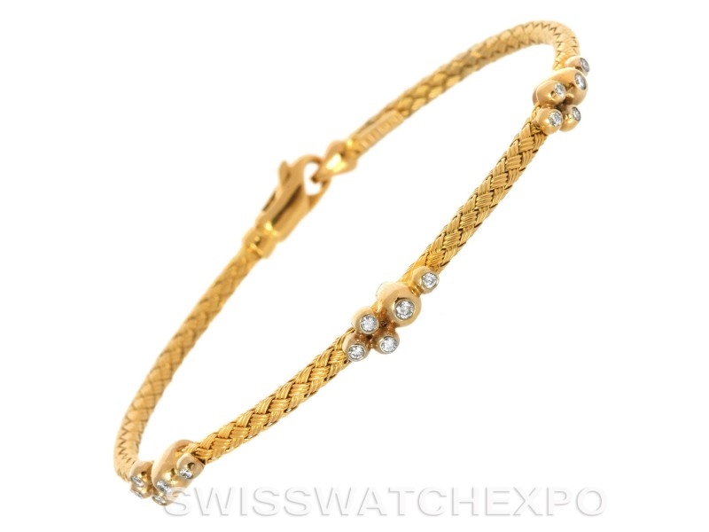 14k Yellow Gold 0.20 Ct. Diamond Basket Weave Bracelet