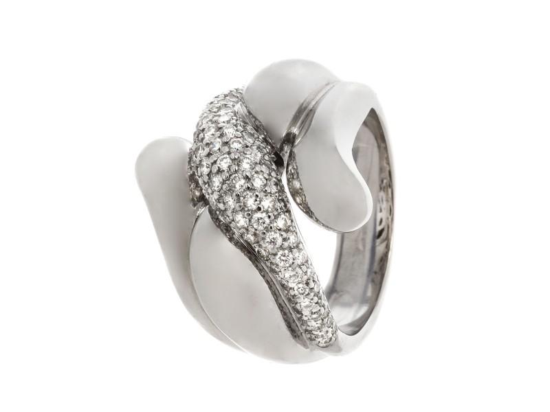 18k White Gold 0.94 Ct Pave Set Diamond Ring - Modern