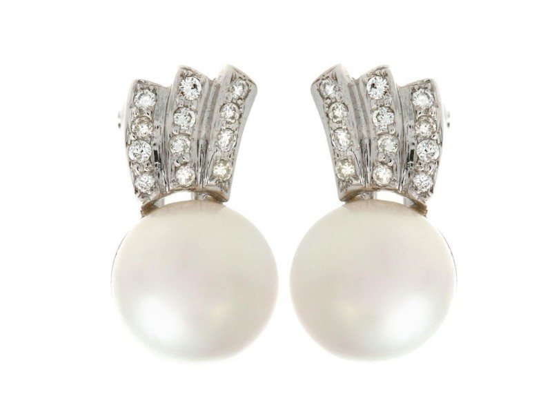 18k White Gold Cultured Pearl and Diamond Earrings