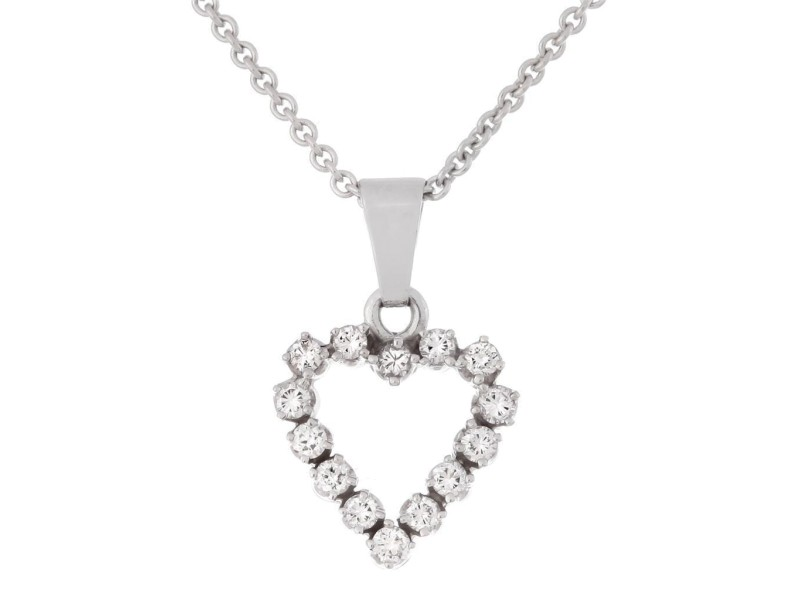 Heart Shaped 14k White Gold Diamond Pendant