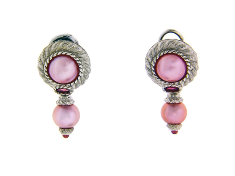 Judith Ripka 925 Sterling Silver with Pink Cultured Pearl Dangle Earrings