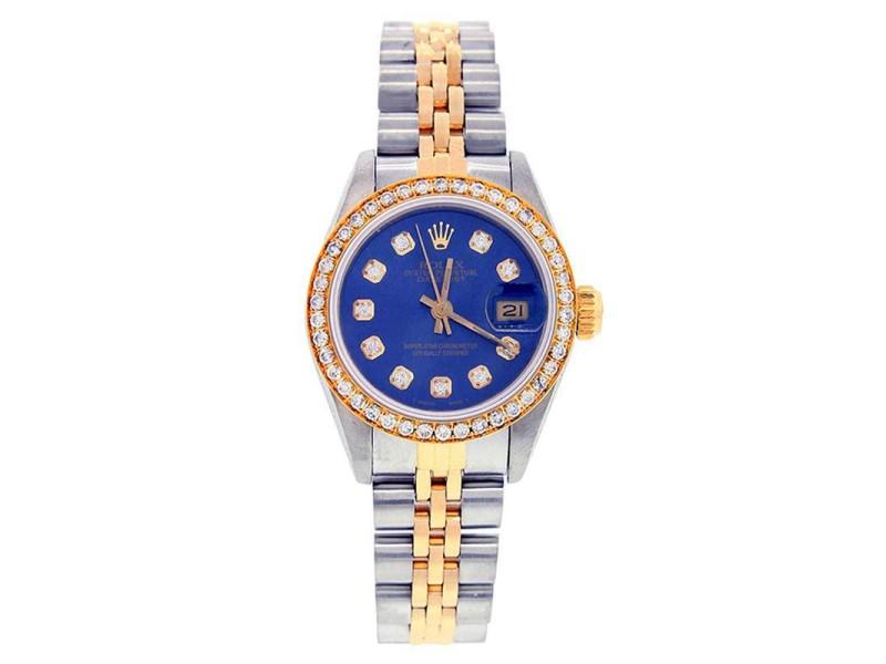 Rolex Datejust 69173 Stainless Steel & Gold Blue Diamond Dial & Diamond Bezel Womens Watch
