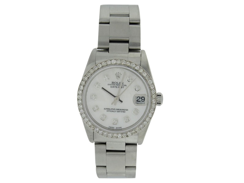 Rolex Datejust 78240 Stainless Steel Mother Of Pearl Diamond Dial & Bezel Midsize Watch