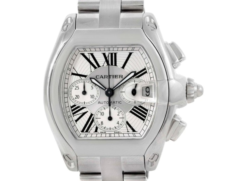 Cartier W62019X6 Roadster Chronograph Silver Dial Mens Watch
