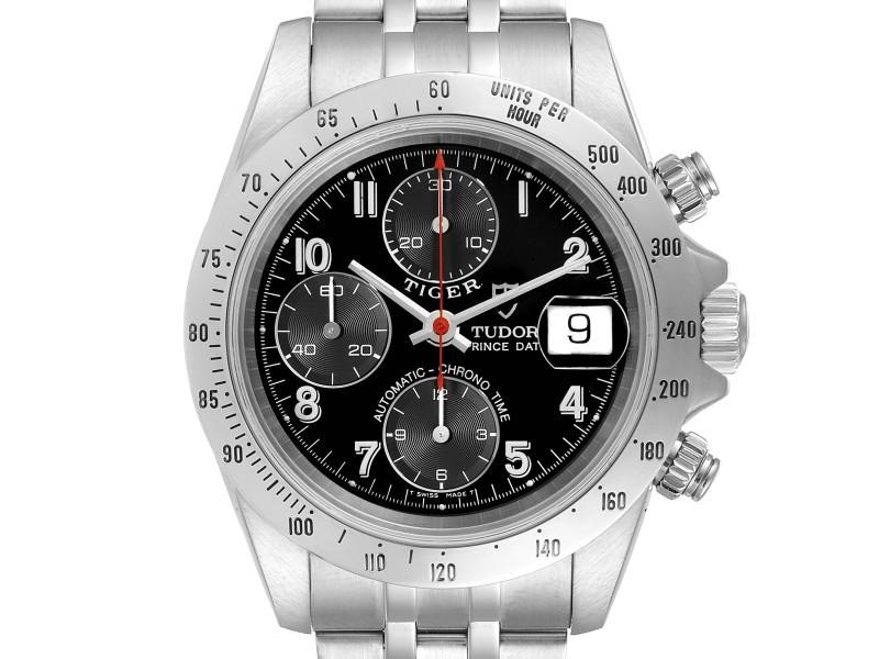 Tudor Prince Black Dial Chronograph Steel Mens Watch 79280