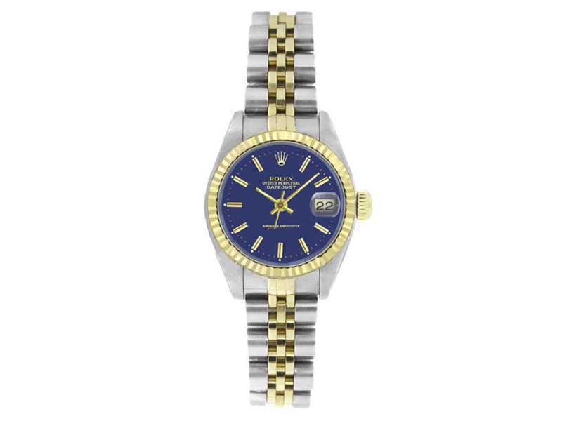 Rolex Datejust 6917 Stainless Steel & Gold Blue Stick Dial 18K Gold Fluted Bezel Womens Watch