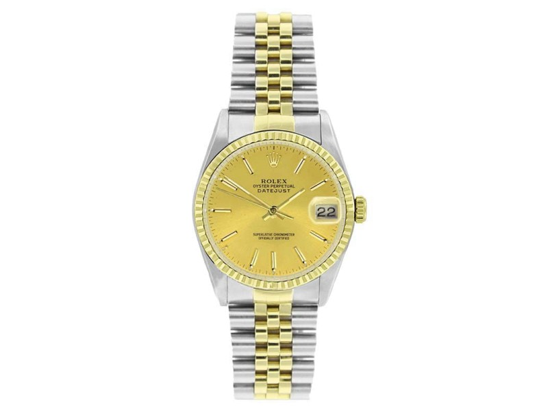 Rolex Datejust 16233 Stainless Steel & Gold Champagne Stick Dial 18K Gold Bezel Mens Watch
