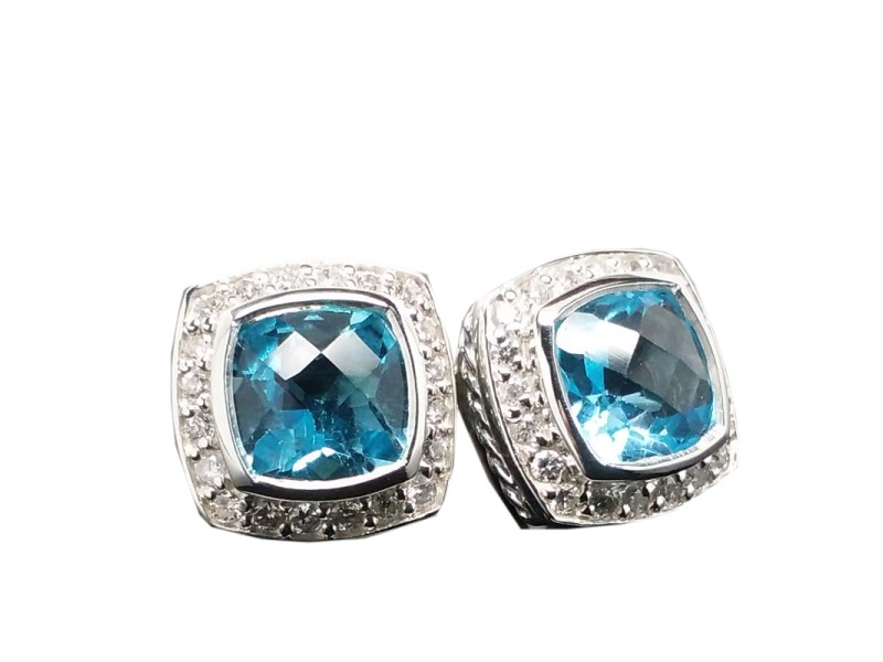David Yurman Petite Albion 7mm Earrings BLUE TOPAZ and DIAMONDS