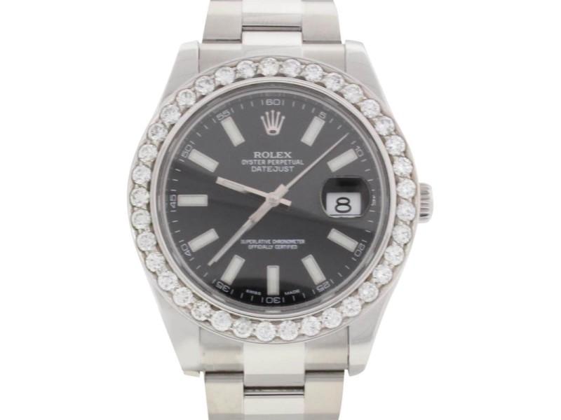 Rolex Datejust II 116300 4.20CT Diamond Bezel Mens 41mm Watch