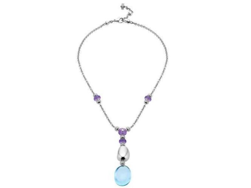 Bvlgari Cl855840 18k White Gold Diamond And Topaz Mediterranean Eden Necklace