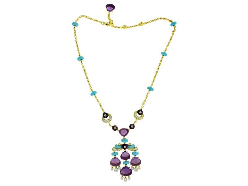 Bvlgari 18k Yellow Gold Mediterranean Eden Diamond Amethyst & Turqoise Necklace