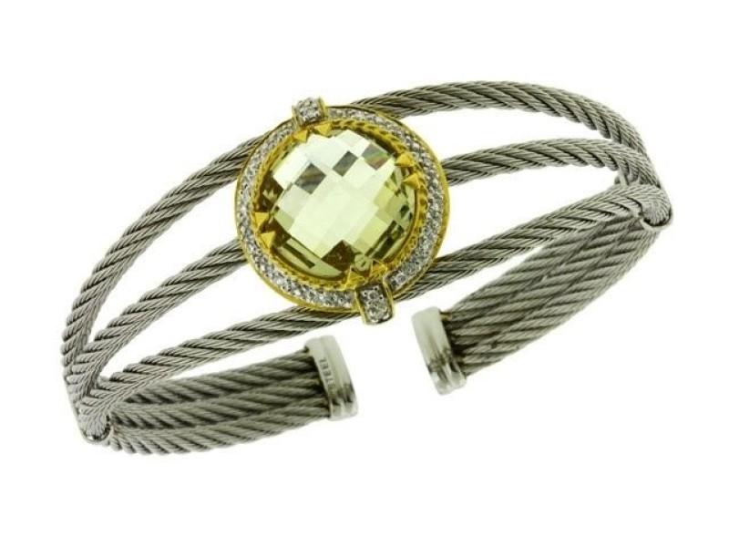 Charriol 18K Yellow Gold and Steel Pave Set Diamond & Lemon Quartz Cuff Bangle