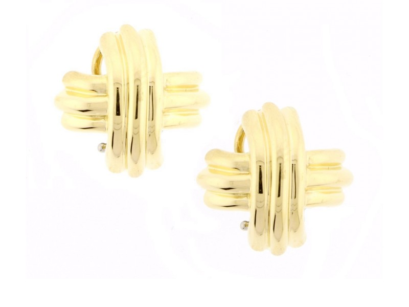 Tiffany Co 18k Yellow Gold Signature X Earrings