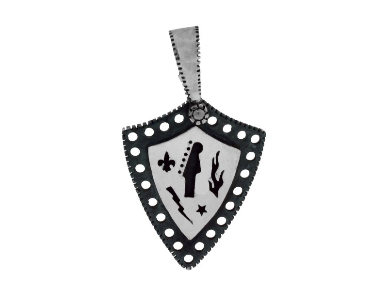 Gurhan 925 Sterling Silver Edge Shiny Shield Kite Pendant Necklace