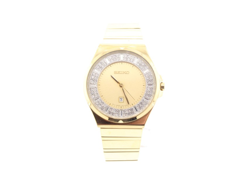 Seiko SXDF72 Gold-Tone Stainless Steel with Crystal Quartz 35.5mm Womens Watch