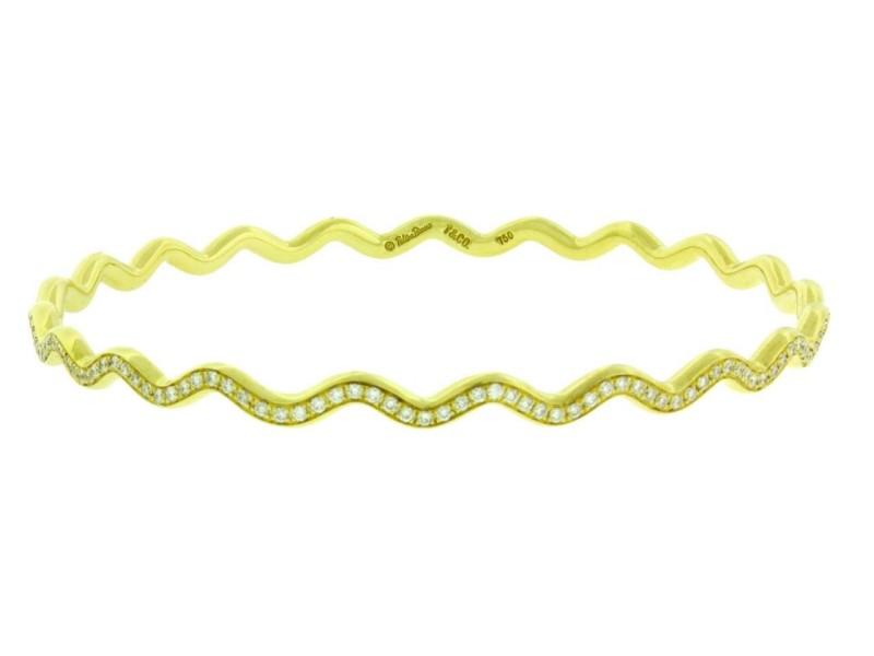 Tiffany & Co. Paloma Picasso 18K Yellow Gold with 2ctw. Diamonds Zig Zag Bangle Bracelet
