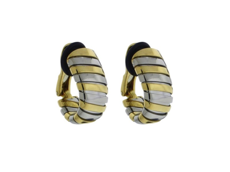 Bulgari Tubogas 18K Yellow Gold & Stainless Steel Clip on Earrings