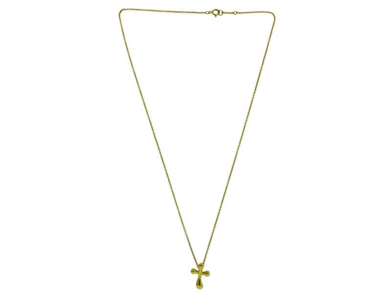 Tiffany & Co. Elsa Peretti 18K Yellow Gold Cross Pendant Necklace