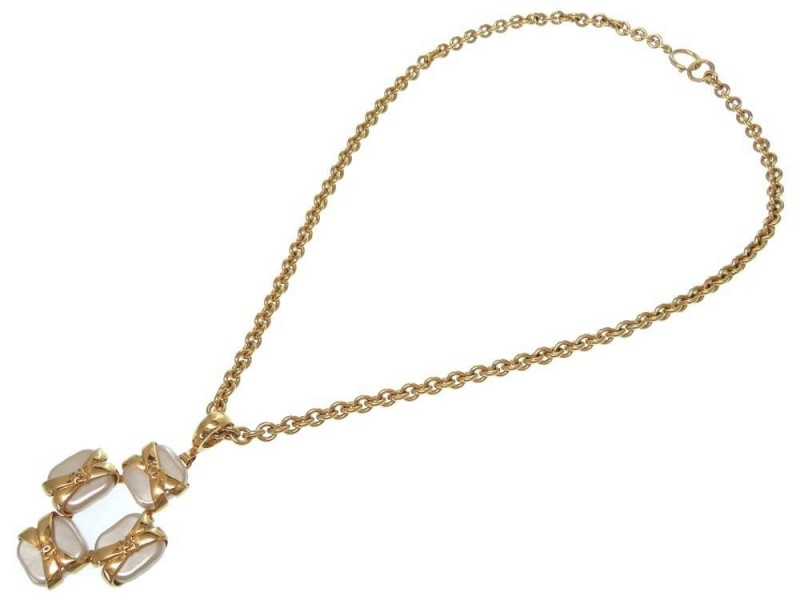 Chanel Coco Mark Gold Tone Hardware with Simulated Glass Pearl Necklace