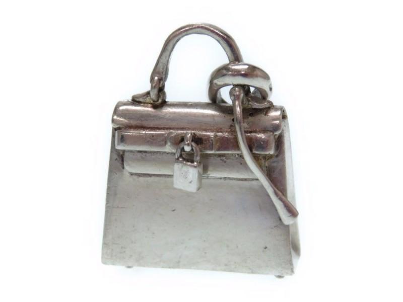 Hermes 925 Sterling Silver Kelly Motif Pendant