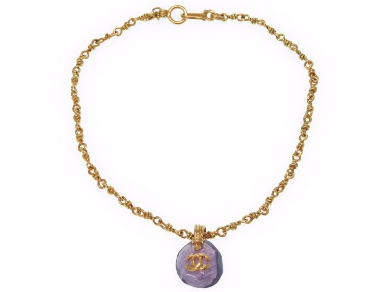 Chanel CC Mark Gold Tone Hardware Vintage Necklace