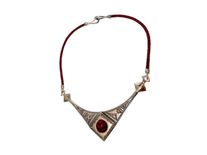 Hermes Tuareg 925 Sterling Silver & Leather Necklace