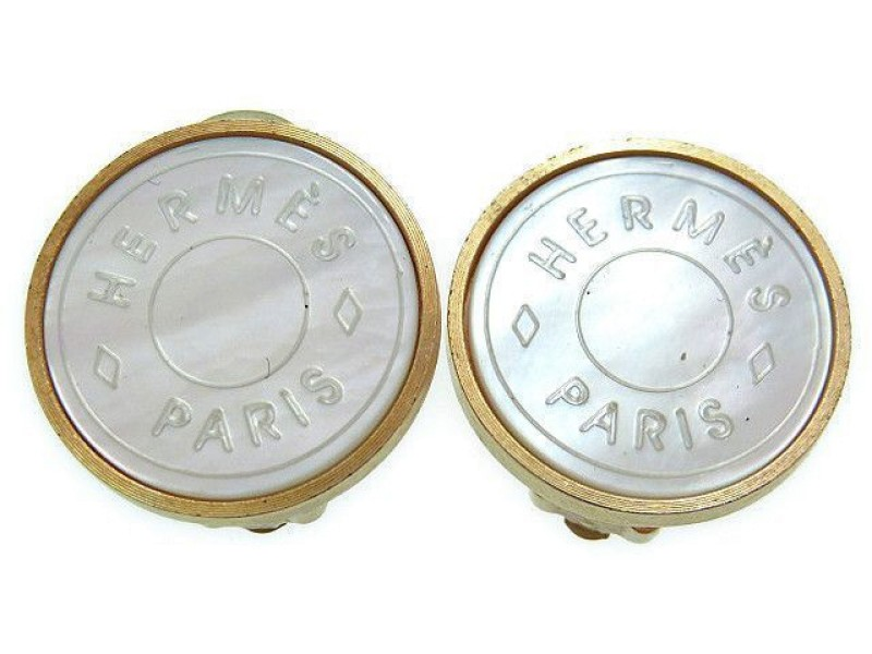 Hermes Gold & Silver Tone Hardware Serie Clip Type Earrings