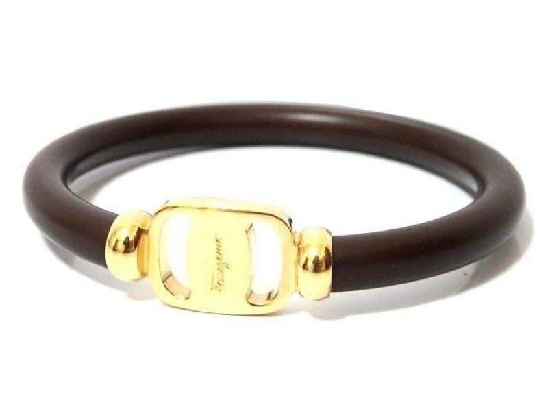 Salvatore Ferragamo Gold Tone Hardware & Plastic Bangle Bracelet