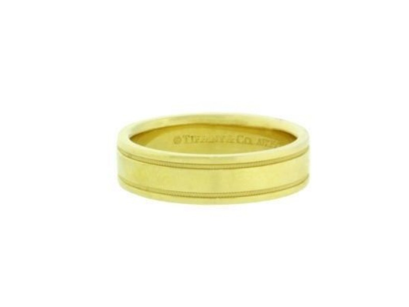 Tiffany & Co. 18K Yellow Gold Double Milgrain Wedding Band Ring Size 11