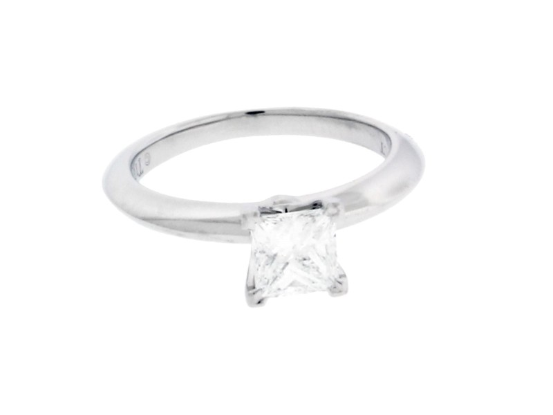 Tiffany & Co. Pt950 Platinum with 0.53ct Solitaire Diamond Engagement Ring Size 3.5