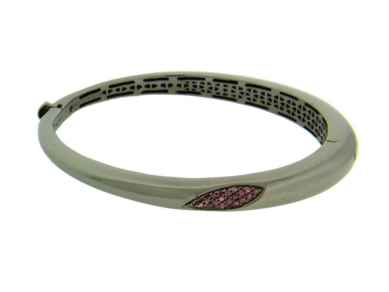Roberto Coin 925 Sterling Silver Ruthenium with Rhodolite Capri Plus Bangle Bracelet