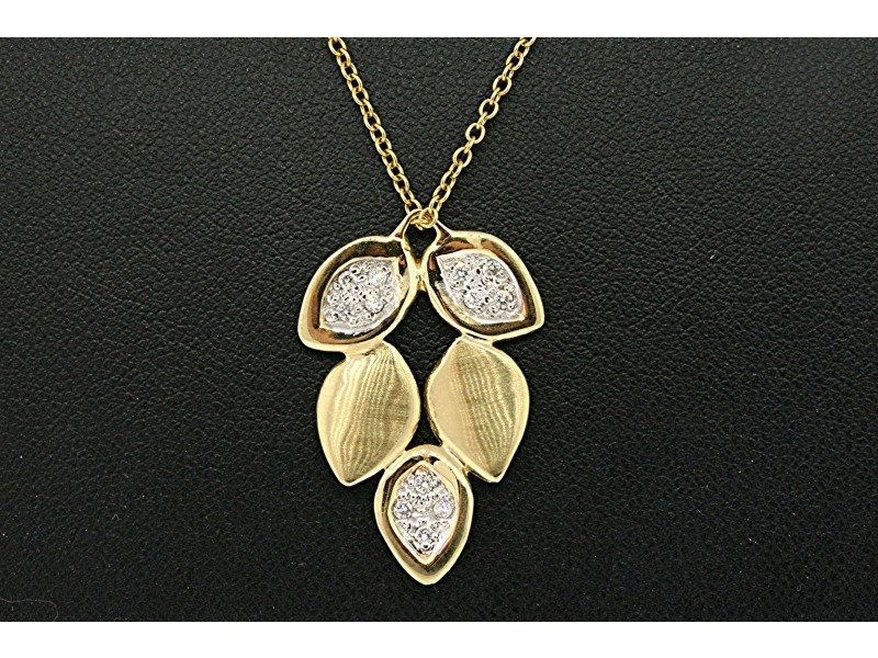 Alex Woo Diamond Pave Leaves Pendant Necklace 14k Yellow Gold Floral Nature
