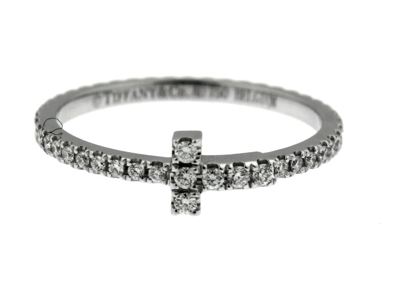 Tiffany & Co. 18K White Gold Diamond Ring Size 6