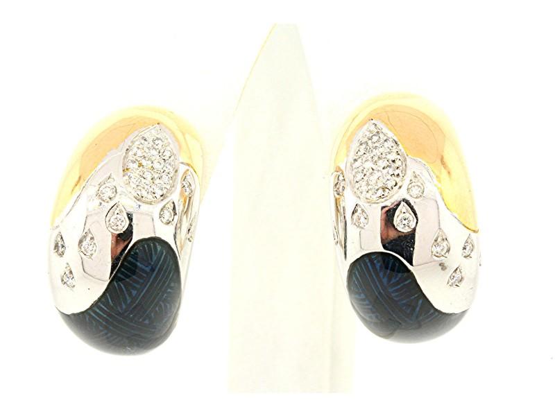 La Nouvelle Bague 18k Yellow White Gold Blue Enamel Diamond Hoop Earrings