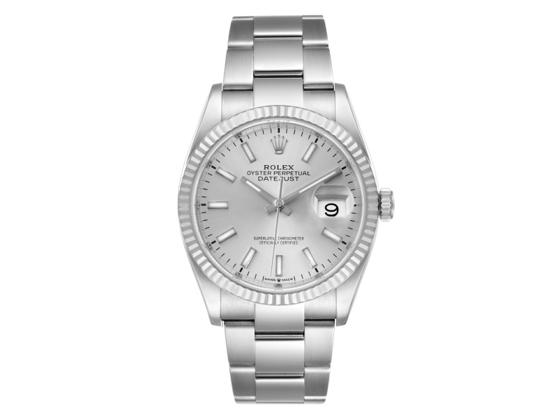 Rolex Datejust Steel White Gold Silver Dial Mens Watch 126234
