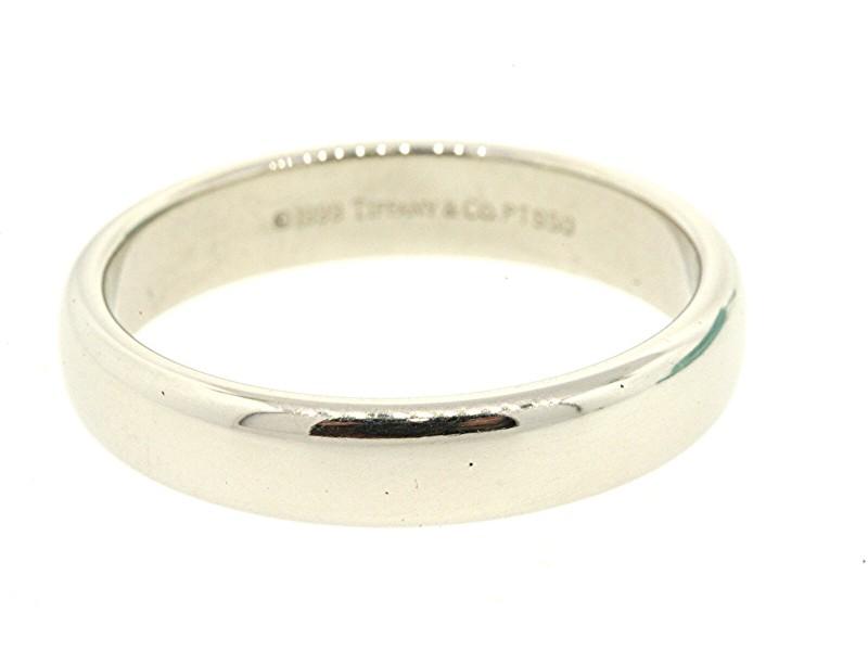 Tiffany & Co. Lucida Wedding Band 1999 4.5mm Classic Plain Platinum Ring 8.5