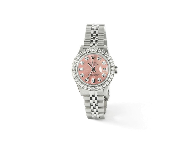 Rolex Datejust Steel 26mm Jubilee Watch Salmon 1.3CT Diamond Bezel & Dial
