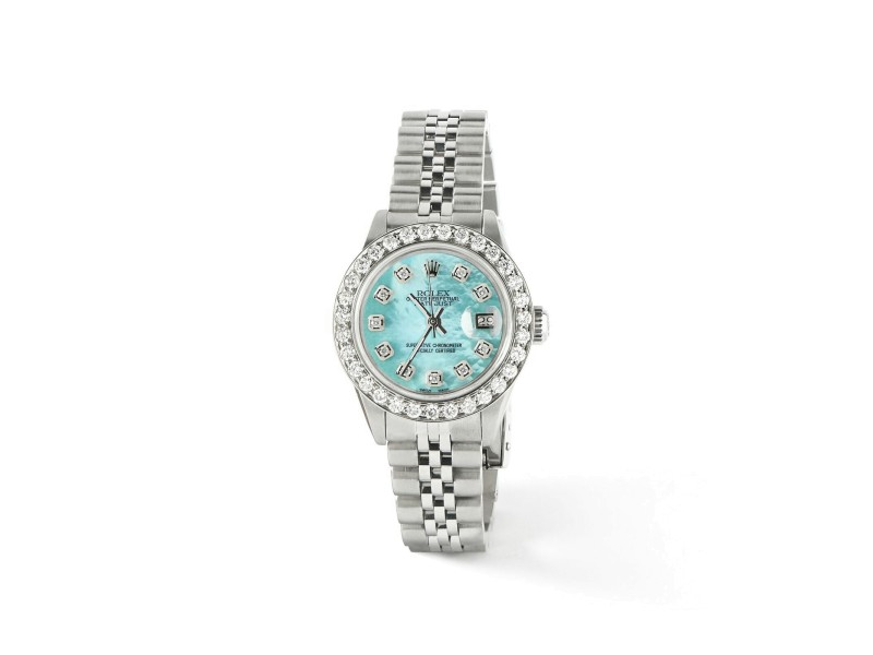 Rolex Datejust Steel 26mm Jubilee Watch Aquamarine 1.3CT Diamond Bezel & Dial