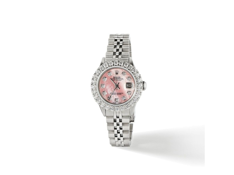 Rolex Datejust Steel 26mm Jubilee Watch 2CT Diamond Bezel / Vibrant Pink Dial