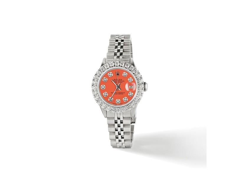 Rolex Datejust Steel 26mm Jubilee Watch 2CT Diamond Bezel / Orange Diamond Dial