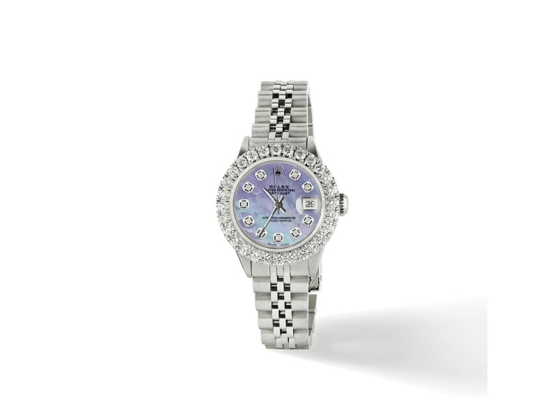 Rolex Datejust Steel 26mm Jubilee Watch 2CT Diamond Bezel / Purple MOP Dial