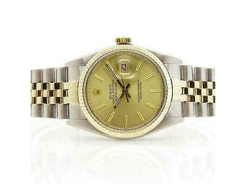 Rolex Datejust 36mm 16013 Unisex Champagne Yellow Gold 36mm 1 Year Warranty
