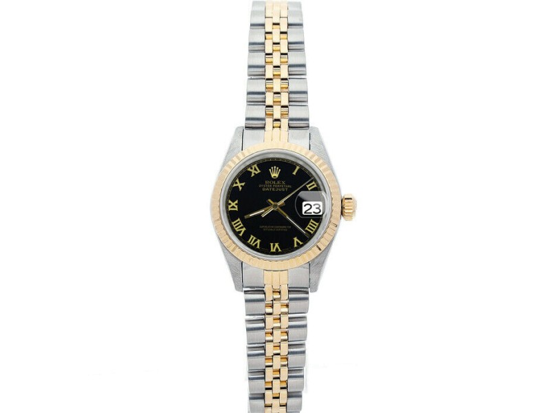 Rolex Datejust 26mm 69173 Women's Black Roman Yellow Gold 26mm 1 Year Warranty