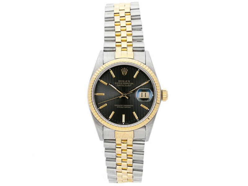 Rolex Datejust 36mm 16013 Unisex Black Tapistry Yellow Gold 36mm 1 Year Warranty